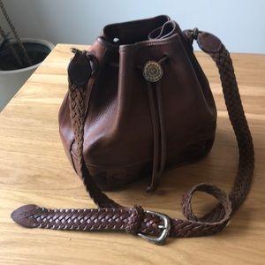 Vintage Brighton Western Leather Drawstring Hobo